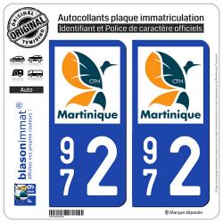 2 Autocollants plaque imatriculation Auto 972 Martinique - LogoType II