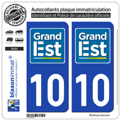2 Autocollants plaque immatriculation 10 Grand Est - LogoType