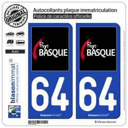 2 Stickers de plaque d'immatriculation auto 64 Pays Basque - Tourisme
