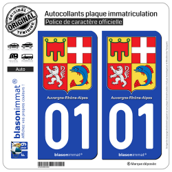 2 Autocollants plaque imatriculation Auto 01 Auvergne-Rhône-Alpes - Armoiries