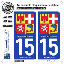 2 Autocollants plaque d'immatriculation auto 15 Auvergne-Rhône-Alpes - Armoiries