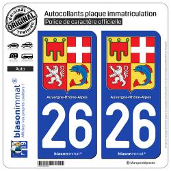 2 Autocollants plaque d'immatriculation auto 26 Auvergne-Rhône-Alpes - Armoiries