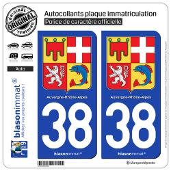 2 Autocollants plaque d'immatriculation auto 38 Auvergne-Rhône-Alpes - Armoiries