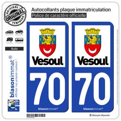 Jeu de 2 Stickers pour plaques d'immatriculation auto - Modèle : 70 Vesoul - Ville