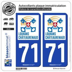 2 Autocollants plaque immatriculation Auto 71 Louhans-Châteaurenaud - Ville