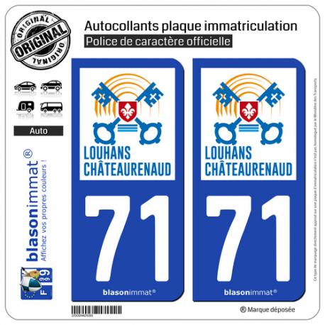 Jeu de 2 Stickers pour plaques d'immatriculation auto - Modèle : 71 Louhans-Châteaurenaud - Ville