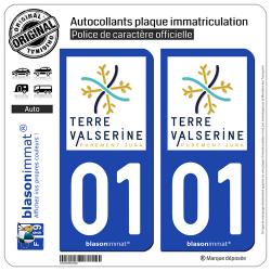 2 Autocollants imatriculation Auto 01 Bellegarde-sur-Valserine - Tourisme