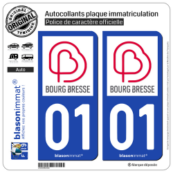 2 Autocollants plaque imatriculation Auto 01 Bourg-en-Bresse - Agglo