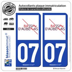 2 Autocollants plaque immatriculation auto 07 Aubenas - Agglo