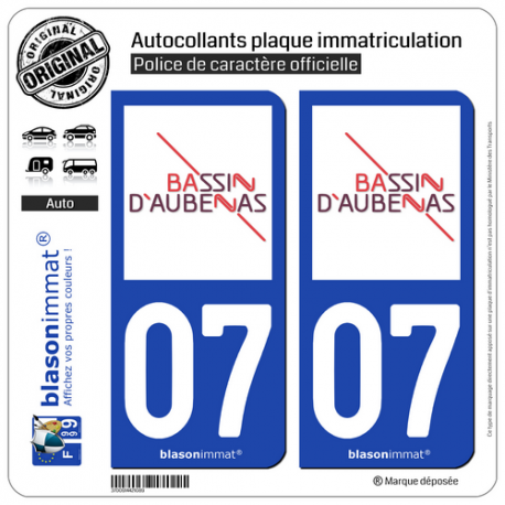 2 Autocollants plaque immatriculation auto 07200 Aubenas - Agglo