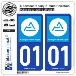 2 Autocollants plaque immatriculation Auto 01 Auvergne-Rhône-Alpes - Région