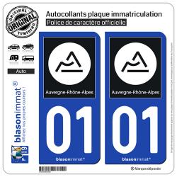 2 Autocollants plaque immatriculation Auto 01 Auvergne-Rhône-Alpes - Région II