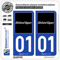 2 Autocollants plaque immatriculation Auto 01 Rhône-Alpes - Tourisme