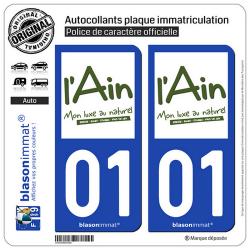 2 Autocollants plaque immatriculation Auto 01 Ain - Tourisme