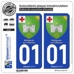 2 Autocollants plaque immatriculation Auto 01 Bellegarde-sur-Valserine - Armoiries