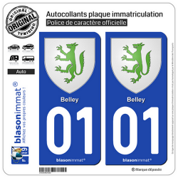 2 Autocollants plaque immatriculation Auto 01 Belley - Armoiries