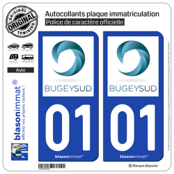 2 Autocollants plaque immatriculation Auto 01 Belley - Agglo