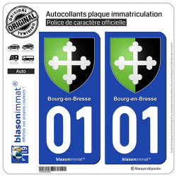 2 Autocollants plaque immatriculation Auto 01 Bourg-en-Bresse - Armoiries