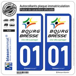 2 Autocollants plaque immatriculation Auto 01 Bourg-en-Bresse - Ville