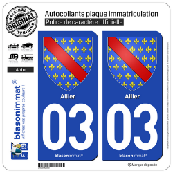 2 Autocollants plaque immatriculation Auto 03 Allier - Armoiries