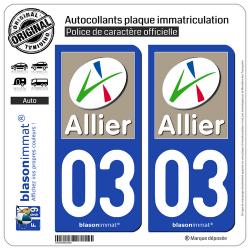 2 Autocollants plaque immatriculation Auto 03 Allier - Département