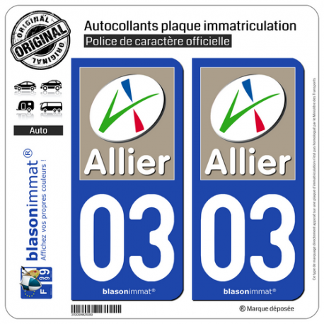 2 Autocollants plaque immatriculation Auto 03 Allier - Département