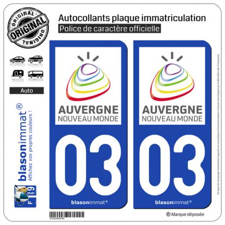 2 Autocollants plaque immatriculation Auto 03 Auvergne - Tourisme