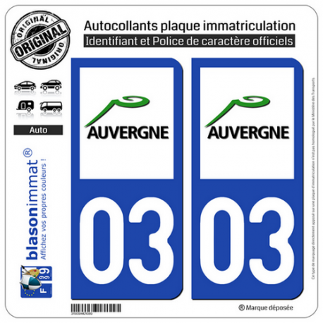2 Autocollants plaque immatriculation Auto 03 Auvergne - LogoType