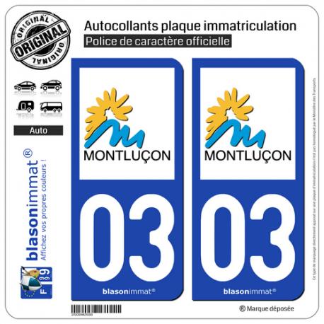 2 Autocollants plaque immatriculation Auto 03 Montluçon - Ville