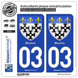 2 Autocollants plaque immatriculation Auto 03 Moulins - Armoiries