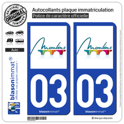 2 Autocollants plaque immatriculation Auto 03 Moulins - Ville