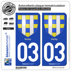 2 Autocollants plaque immatriculation Auto 03 Vichy - Armoiries