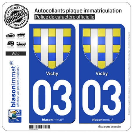 2 Autocollants plaque immatriculation Auto 03 Vichy - Armoiries