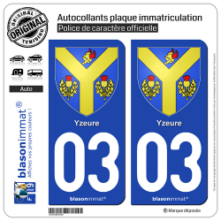 2 Autocollants plaque immatriculation Auto 03 Yzeure - Armoiries