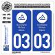 2 Autocollants immatriculation Auto 03 Auvergne-Rhône-Alpes - LogoType