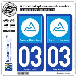 2 Autocollants plaque immatriculation Auto 03 Auvergne-Rhône-Alpes - Région