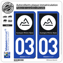 2 Autocollants plaque immatriculation Auto 03 Auvergne-Rhône-Alpes - Région II