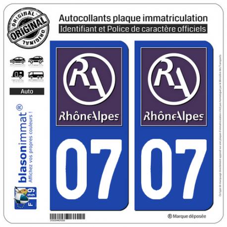 2 Autocollants plaque immatriculation Auto 07 Rhône-Alpes - LogoType II