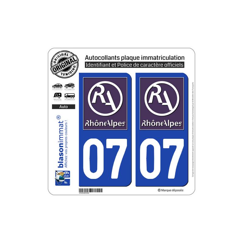 autocollant plaque immatriculation auto 07 ard che logotype ii. Black Bedroom Furniture Sets. Home Design Ideas