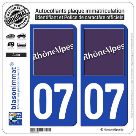 2 Autocollants plaque immatriculation Auto 07 Rhône-Alpes - LogoType