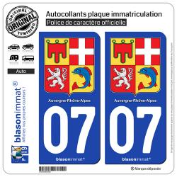2 Autocollants plaque immatriculation Auto 07 Auvergne-Rhône-Alpes - Armoiries