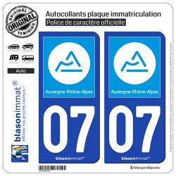 2 Autocollants plaque immatriculation Auto 07 Auvergne-Rhône-Alpes - Région