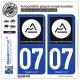 2 Autocollants plaque immatriculation Auto 07 Auvergne-Rhône-Alpes - Région II