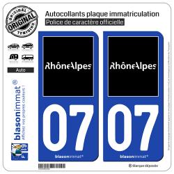 2 Autocollants plaque immatriculation Auto 07 Rhône-Alpes - Tourisme