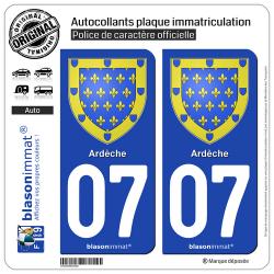 2 Autocollants plaque immatriculation Auto 07 Ardèche - Armoiries