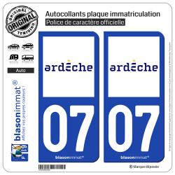 2 Autocollants plaque immatriculation Auto 07 Ardèche - Département