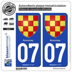 2 Autocollants plaque immatriculation Auto 07 Annonay - Armoiries