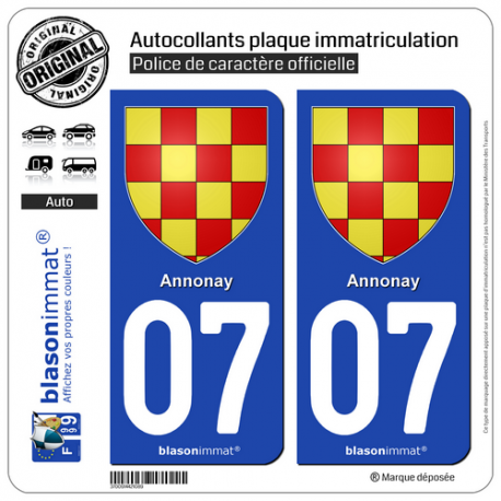 2 Autocollants plaque immatriculation Auto 07 Annonay - Armoiries