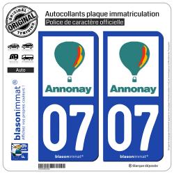 2 Autocollants plaque immatriculation auto 07 Annonay - Ville