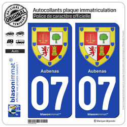 2 Autocollants plaque immatriculation Auto 07 Aubenas - Armoiries